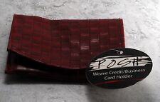 New Posh Brand Weave Credit Business Card Holder Faux Leather Nwt Dark Red