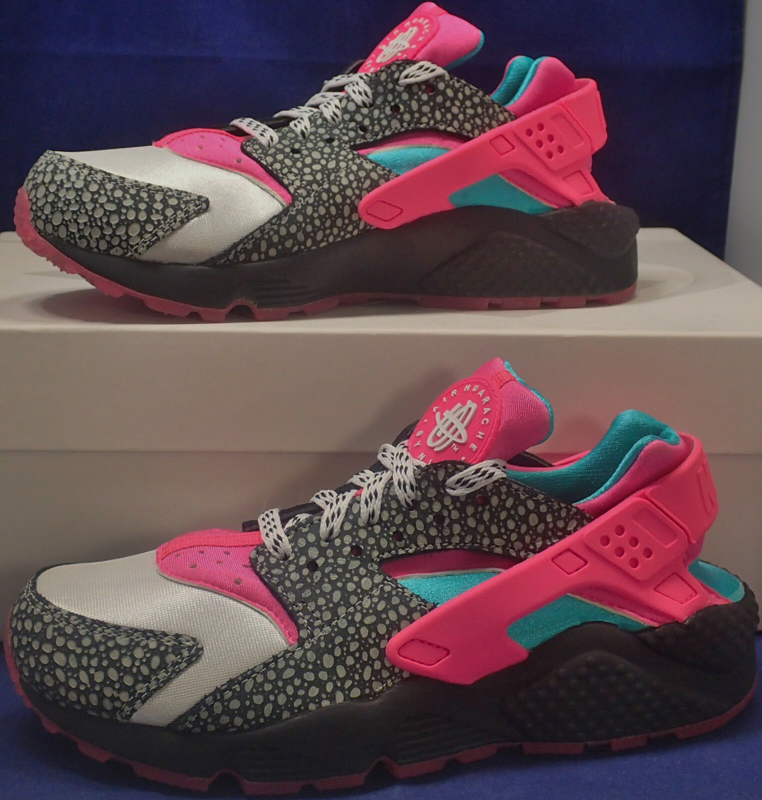 Womens Nike Air Huarache Run iD Safari Black Pink Turquoise Price reduction The most popular shoes for men and women