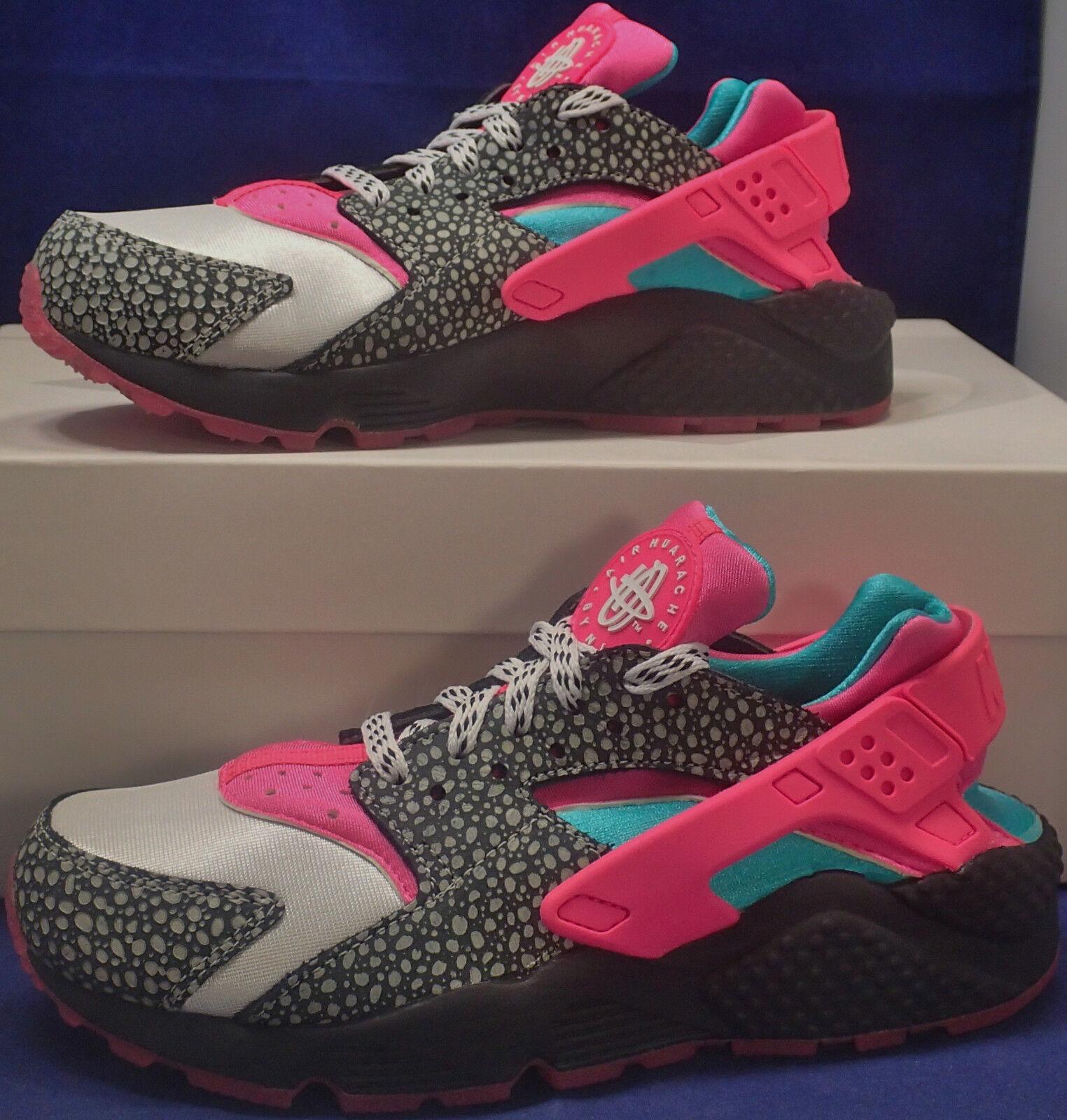 Womens Nike Air Huarache Run iD Safari Black Pink Turquoise SZ 7 ( 777331-991 )