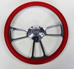Chevelle-Nova-Camaro-Impala-14-034-Steering-Wheel-Red-and-Billet-SS-Center-Cap