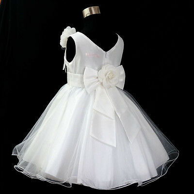 W668 White Christening Wedding Party Dress Flower Girls Dresses AGE SIZE 1 to 12
