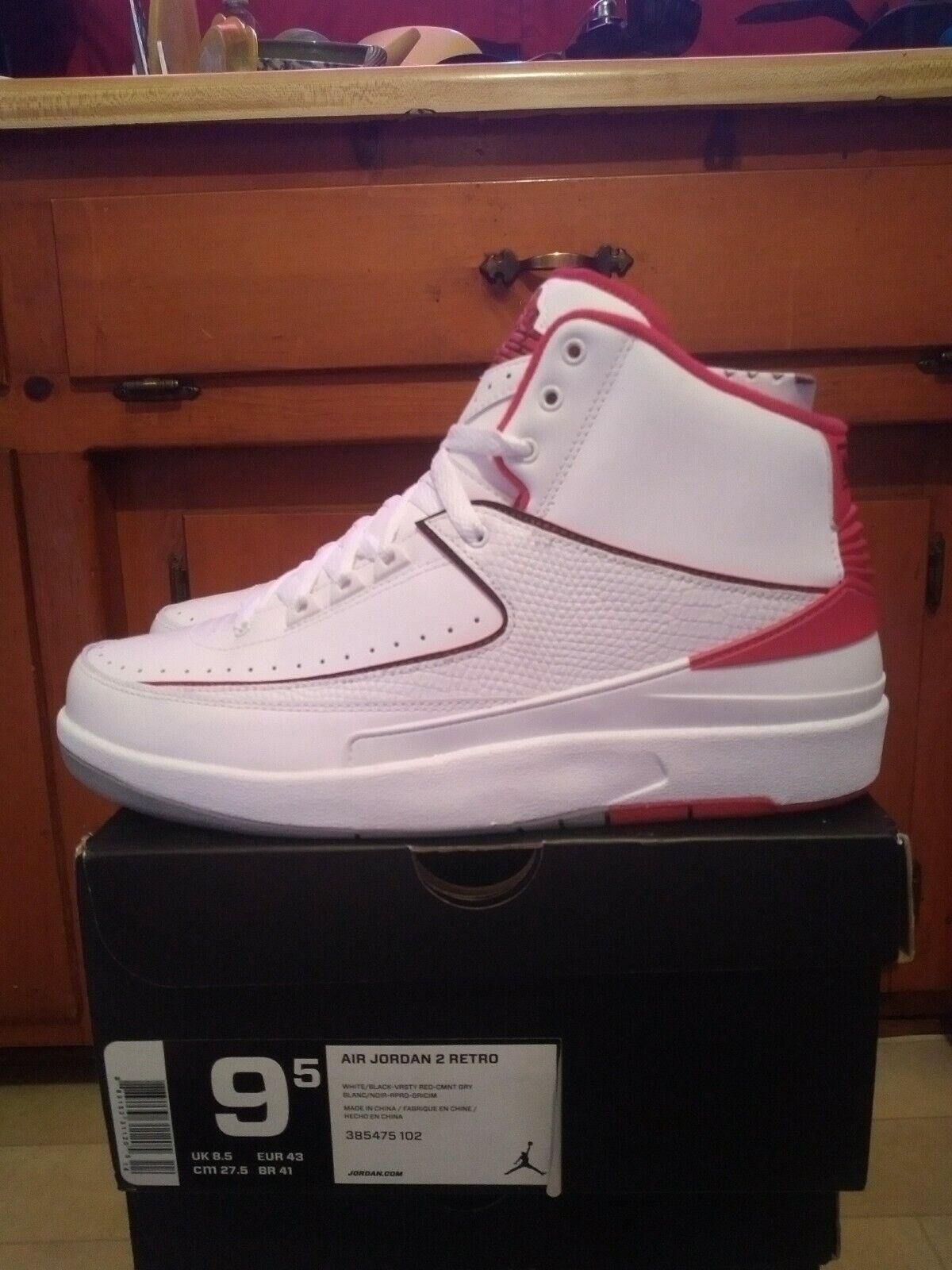 Jordan 2 Cemento blancoo Rojo Universitario tamaño 9.5 DS