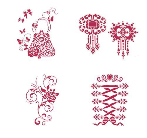 VIVA DECOR Schablone Textil + Wand Motiv Brosche Tasche  BEAUTY + LANDLUST H
