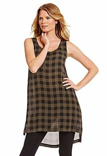 Eileen Fisher Scoop Neck Silk Tunic Top S Small Surplus Buffalo Check  New