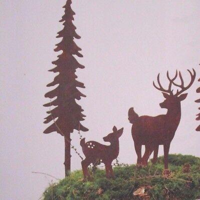 Experto Edelrost Set Baum Hirsch Kitz Weihnachten Deko Rost Waldtiere Herbst Garten Reh
