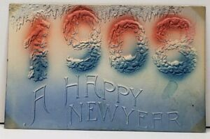 Happy-New-Year-1908-Embossed-Airbrushed-to-Moline-Illinois-Postcard-E4