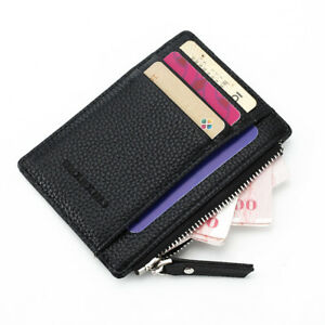 Men/'s leather short Casual Zipper wallet Coin ID Credit Card SIM Card Holder