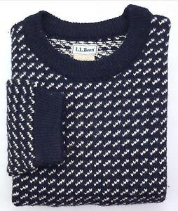 LL-Bean-Birdseye-Sweater-Medium-Tall-Blue-White-Mens-Size-MT-Wool-Blend-Vintage
