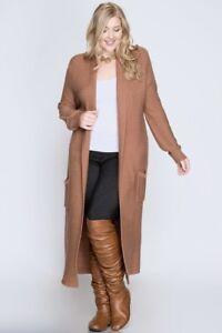 She Sky Long Cardigan Duster Sweater W Pockets Cinnamon Plus Xl