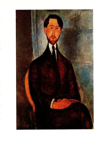 "1970 Vintage MODIGLIANI /""PORTRAIT OF LEOPOLD ZBOROWSKI/"" COLOR offset Lithograph"