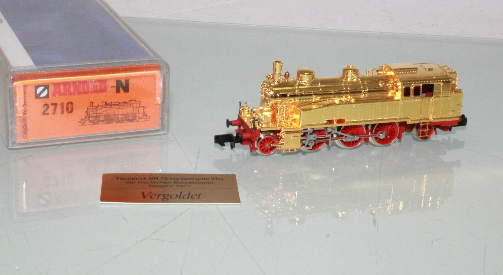 Arnold pista n 2710 máquina de vapor br 75 (ex baño. Deténnos) de la DB dorado en embalaje original (jl9544)
