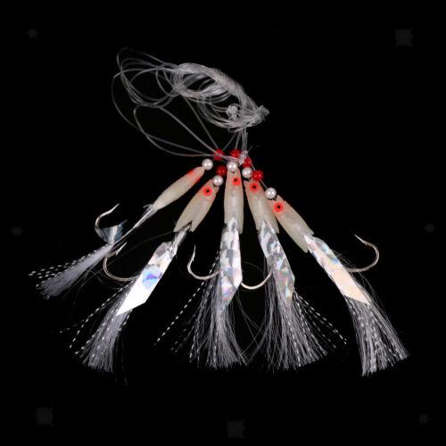 5x Sabiki Soft Fishing Lure Mackerel Rig Bait Jig Lure Worn 3//0# Barbed Hook