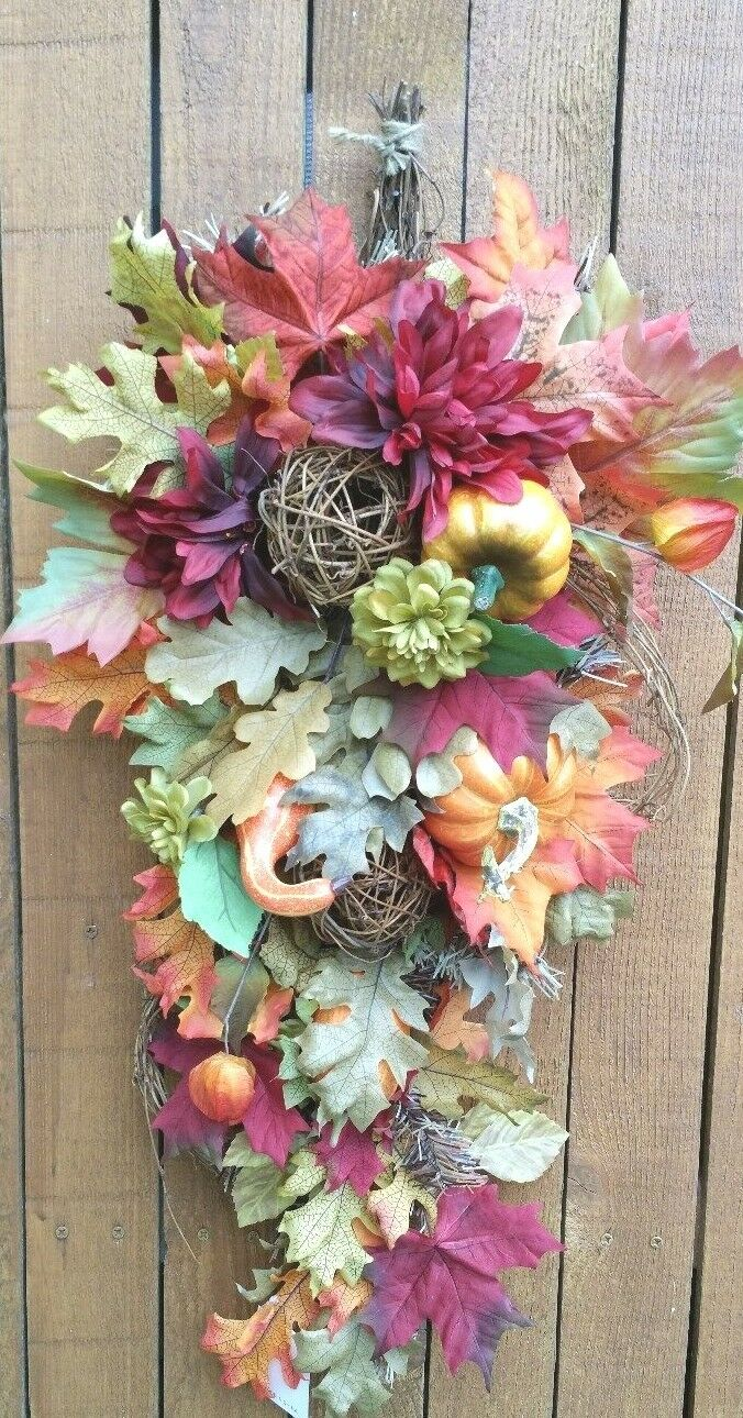 31  Fall Teardrop Wreath with gourds leaves balls and pumpkins burgundy
