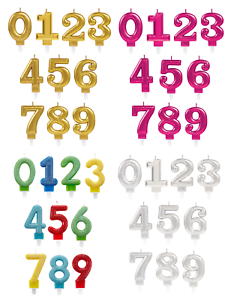 Birthday Party Cake All Ages Coloured Numeral Boy Girl METALLIC NUMBER CANDLES