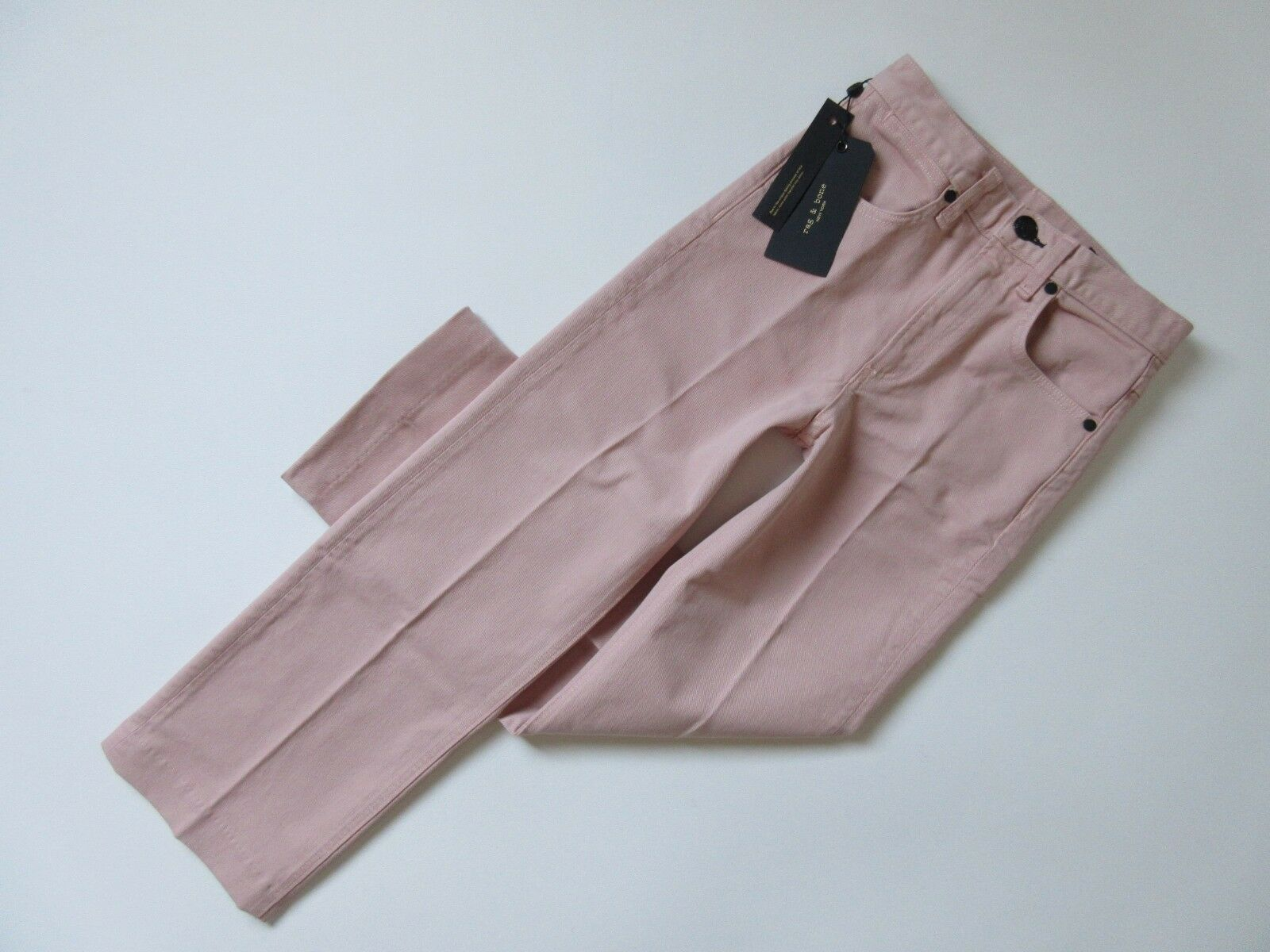 NWT Rag & Bone Justine Ankle in bluesh Pink Twill Crop Wide Leg Trouser Jeans 25