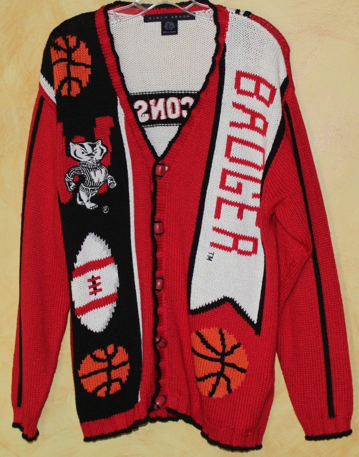 BÄSTA WISCONSIN BADGERS Footboll Basketboll Logo Knit bildigan tröja Sz