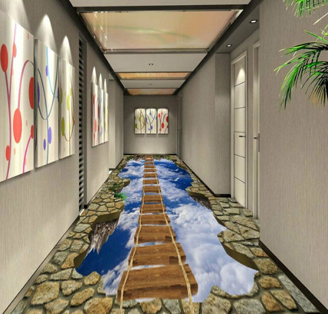 3D Sky Ladder Hall Floor Mural Photo Flooring Wallpaper Hallway Print Home Decal