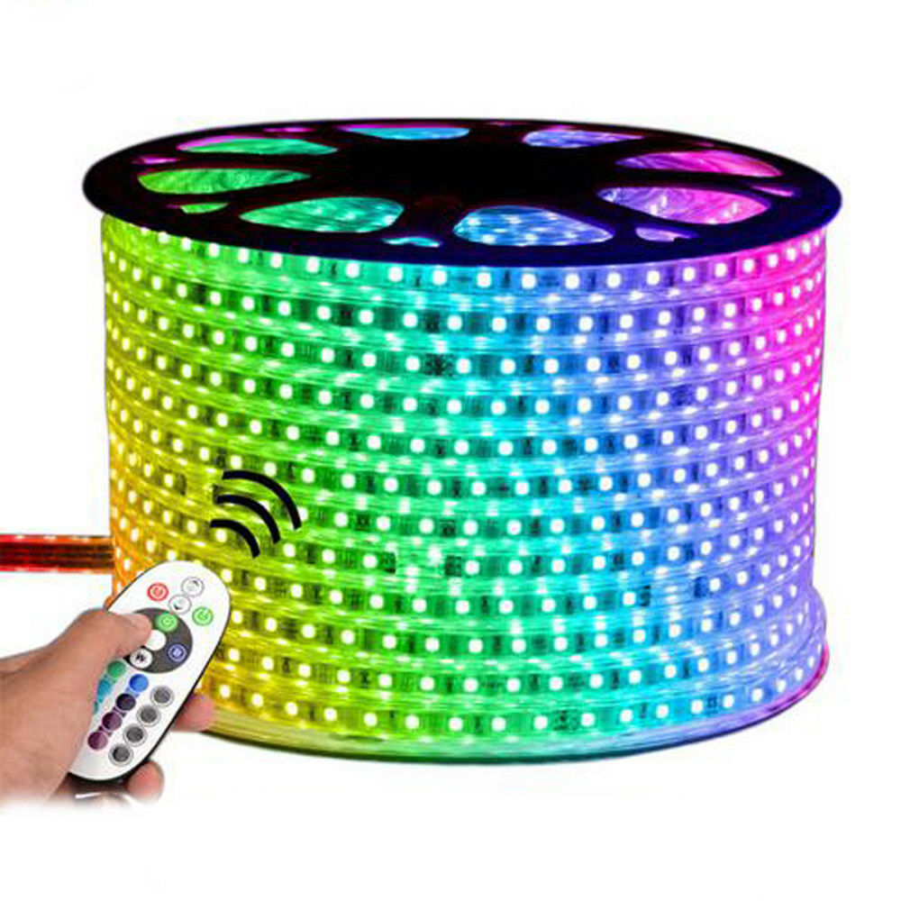 Tiras de luz 240 V RGB LED 5050 SMD 60 por metro IMPERMEABLE IP65 Kit de conexión