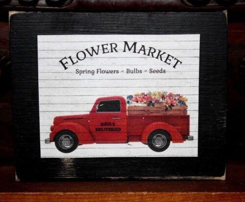Flower Market Red Truck Primitive Rustic Wooden Sign Block Shelf Sitter 3.5X4.5