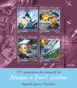 Sao-tome-amp-principe-2016-neuf-sans-charniere-wwii-WW2-pearl-harbor-4v-m-s-aviation-navires-timbres