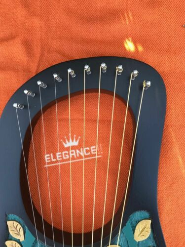 NEW LYRA HARP 10 METAL STRINGS ROSEWOOD HAND ENGRAVED BLACK COLOUR//LYRE HARP