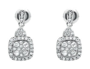14k-White-Gold-Ladies-Square-Cluster-Genuine-Diamonds-Dangling-Earrings-47ct