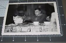 Cat Handsome Teenage Boy DOUBLE EXPOSURE Pet Kitten Vintage Snapshot PHOTO