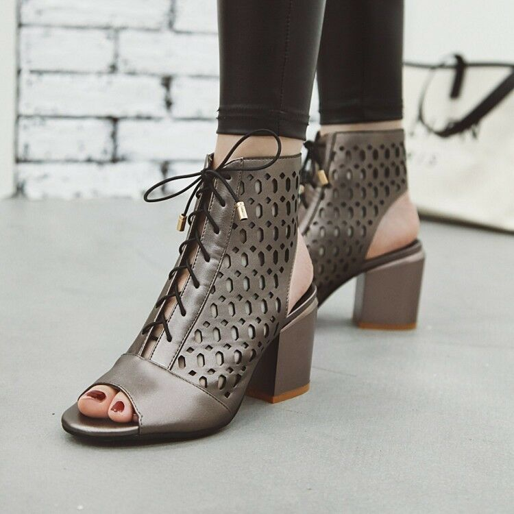 Women's Hollow Out Chunky Heel Sandals Peep Toe Lace Up Casual shoes Ankle Boots