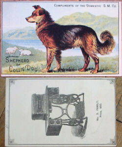 Shepherd or Collie Dog 1880s Victorian Trade Card: Domestic Sewing Machine Co.