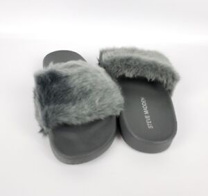 8f3efea8d1a Details about Steve Madden girls Softey Flat Slide Sandal - Dark Light Grey  - Size 3 new