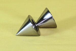 Gardinenstangenendkappen-Kegel-fuer-16mm-Gardinenstangen-Metall-im-Edelstahllook