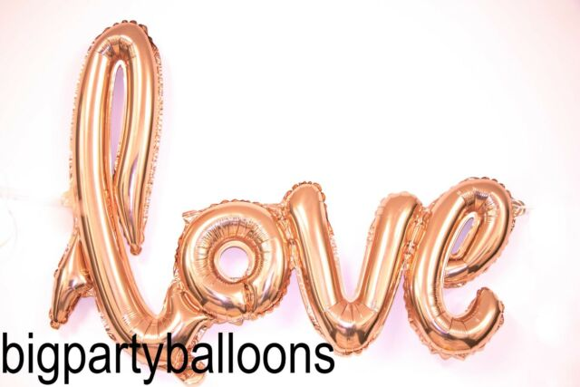 40 inches Love Foil Balloon Air Rose Gold Pink Script Handwriting Backdrop Party