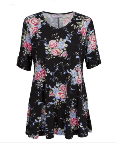 New Ladies Women Short Turned Up Sleeves Black Floral Tunic Top Plus Sizes 14-22