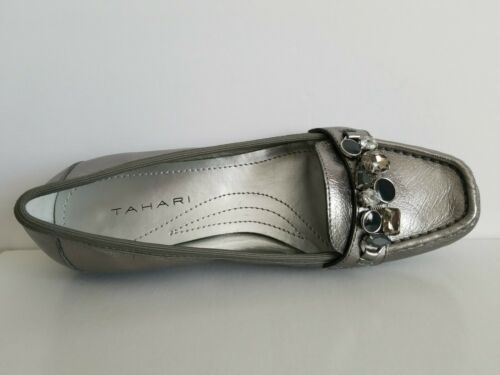 TAHARI EMILIA PEWTER CHAIN CRYSTALS MOCCASINS LOAFERS US 6.5 I LOVE SHOES