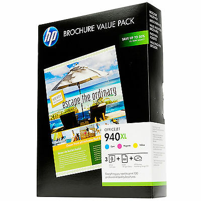 GENUINE HP HIGH CAPACITY 3 COLOUR INK CARTRIDGE BROCHURE VALUE PACK HP 940XL