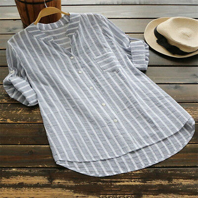 Plus Size Women Summer Striped V Neck Blouse Baggy Tops 3/4 Sleeve Tunic T Shirt