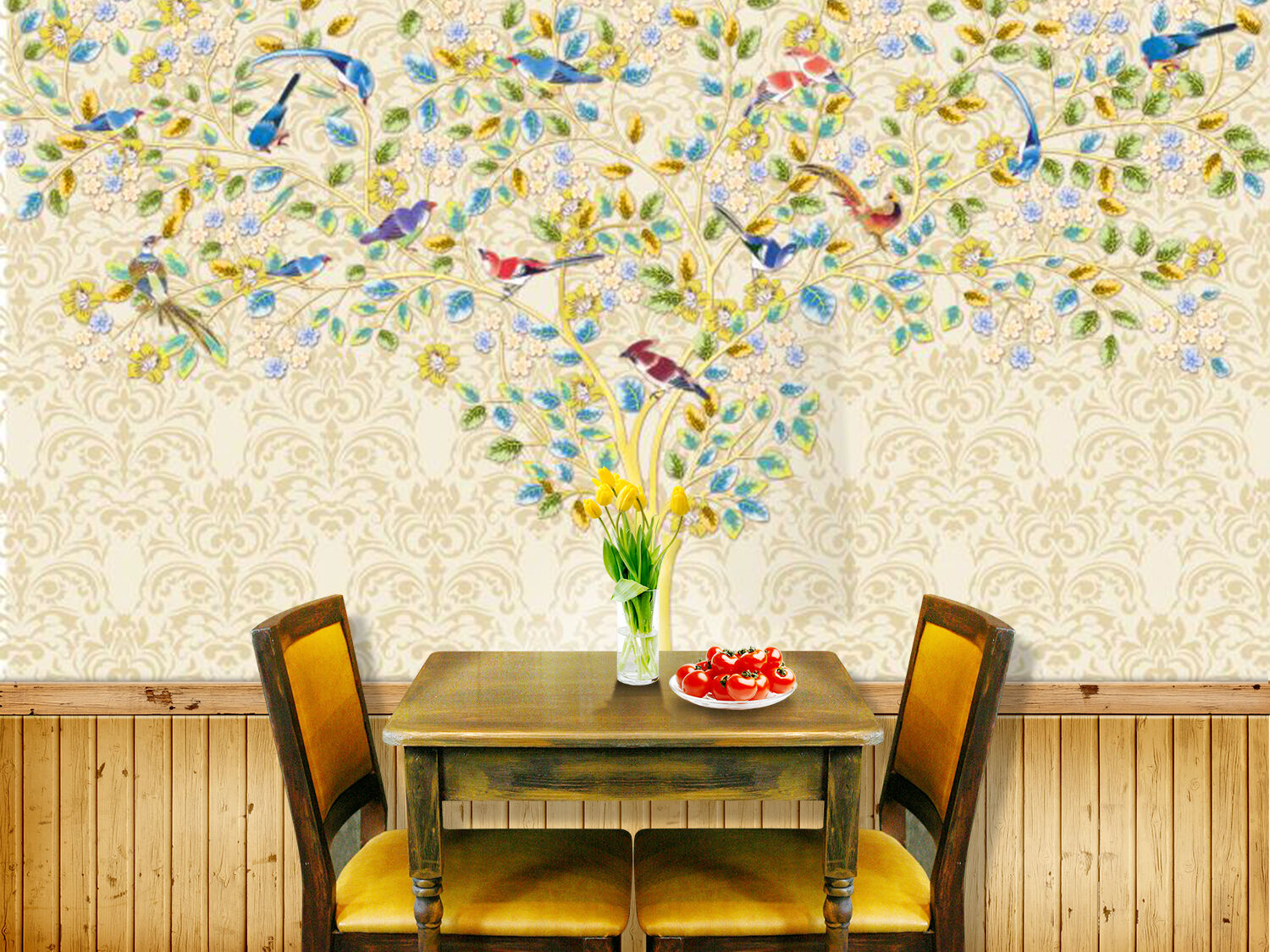 3D colord tree leaves 435 Wall Paper Wall Print Decal Wall Indoor AJ Wall Pape