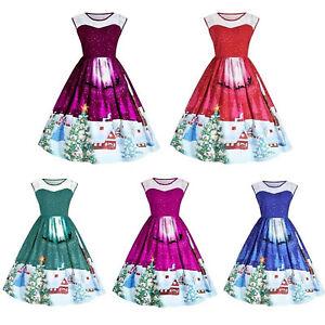 Women-Vintage-Sleeveless-Swing-Skater-Dress-Retro-Rockabilly-Party-Mini-Dress-AU