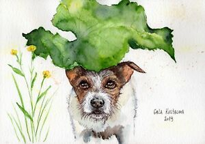 Dog-Under-The-Leaf-original-watercolor-dog-painting-animal-pet-puppy-funny-art