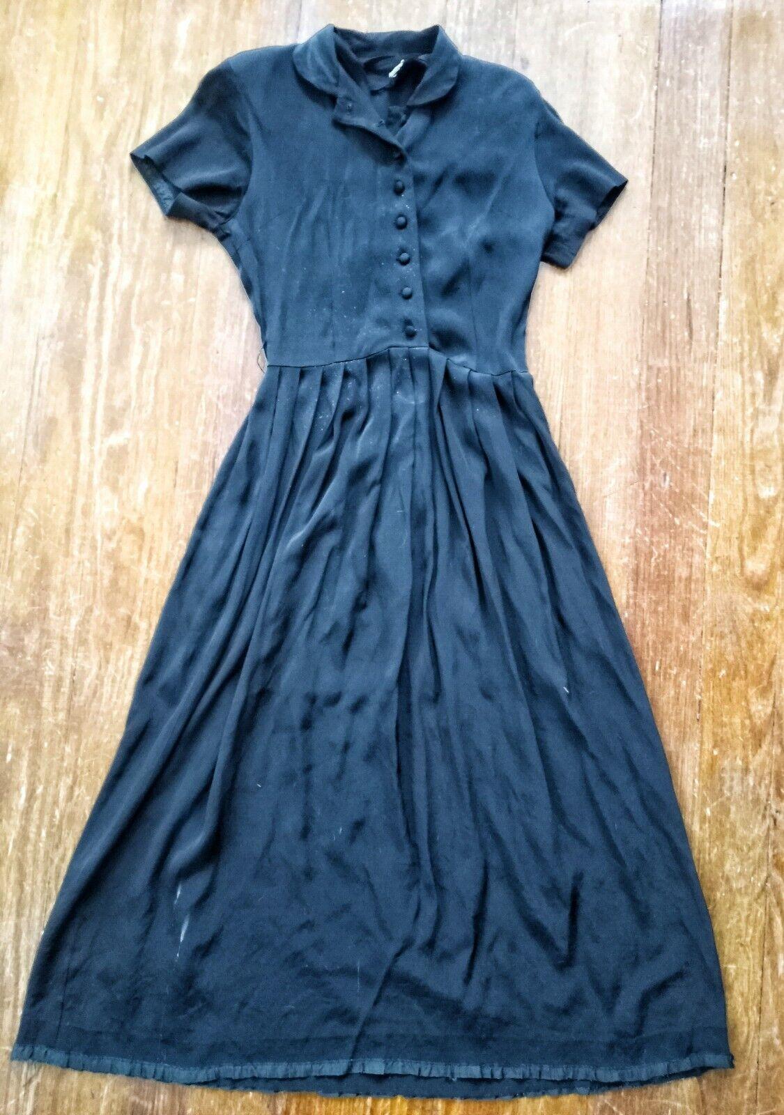 Vintage 1940's Black Rayon Dress - image 3
