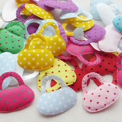 Fashion 80pcs Padded dot fabric Bag sewing/Appliques/baby DIY craft Lots Mix