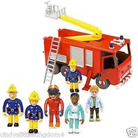 Fireman Sam Friction Fire Friction Engine  Jupiter & 5 Figure Articulated  Set
