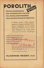 MEISSEN, Werbung 1942, Filterwerk POROLITH Diatom-Kieselgur Filter Gasreinigung