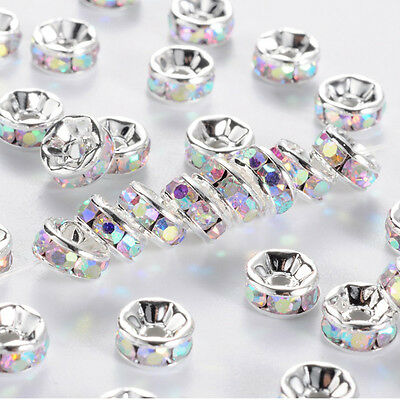10 Quality Silver Plated Clear AB Crystal Beads, Round Spacer Beads, Get 3 for 2