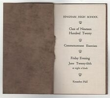 1920 BINGHAM HIGH SCHOOL Maine COMMENCEMENT Booklet KENNEBEC HALL Somerset Co