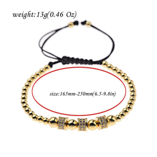 Luxury Jewelry Women Men/'s Micro Pave CZ Crown Braided Adjustable Bracelets Gift
