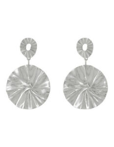 NEW Wayne Cooper Botanica Large and Small Disc Earrings Silver