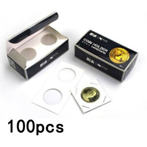 100x-Cardboard-Coin-Protection-Storage-Display-Holders-Paper-Clip-40MM-White