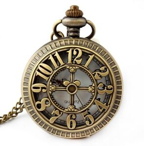 Retro-Antique-Bronze-Skull-Shaped-Pocket-Watch-with-31-Inches-Full-Round-Pocket