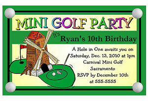 Mini golf miniature golf birthday party invitations ebay image is loading mini golf miniature golf birthday party invitations filmwisefo
